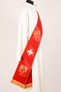 Stola Diaconale SD15 M0 Rossa - Faille Misto Lana