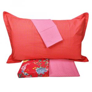 Set lenzuola matrimoniale PIP STUDIO Good Night rosso effetto copriletto