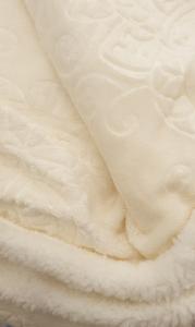 Plaid in pile 130x160 cm Mary jacquard effetto agnellato panna