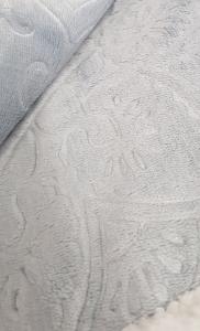 Plaid in pile 130x160 cm Mary jacquard effetto agnellato grigio perla