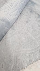 Plaid in pile matrimoniale 210x240 cm Mary jacquard agnellato grigio perla