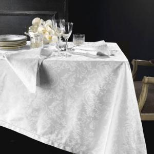 Tovaglia PIAZZA PITTI 180x360 cm in fiandra con 18 tovaglioli bianco Manuela