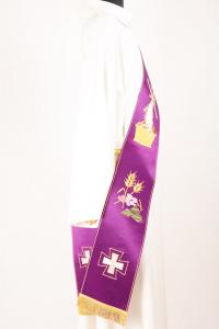Stola Diaconale SD2 M0 Viola - Faille Misto Lana