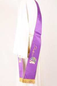 Stola Diaconale SD10 M0 Viola Ricamo Pane e Pesci Faille Misto Lana