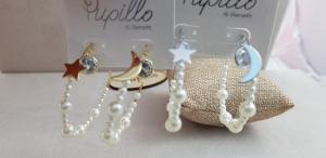 Orecchini alla moda perline con stella e luna