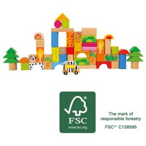 Costruzioni in legno cubetti Zoo 50 pezzi