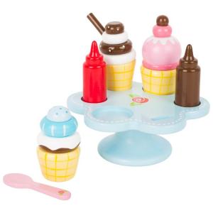 Vassoio coni gelato con tubetti per crema accessori cucina giocattolo in legno