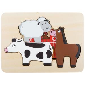 Puzzle in legno a strati Fattoria. Gioco per bambini