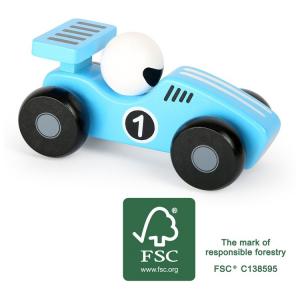 Veicolo macchina in legno gioco per bambini Bolide blu
