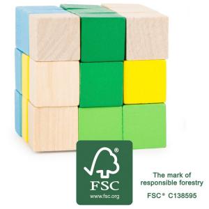 Cubo da costruzione blu e verde Gioco rompicapo per bambini