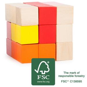 Cubo da costruzione rosso e giallo Gioco rompicapo per bambin