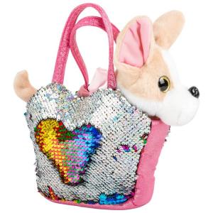 Peluche Cane nella borsa con paillettes