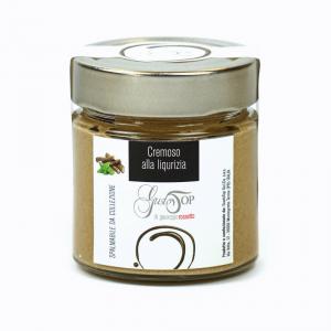 Spalmabile al cioccolato bianco con liquirizia, confezionato in vasetto da 200 gr