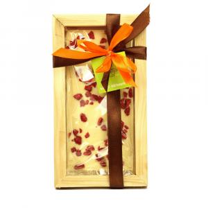 Tavoletta di Cioccolato bianco con lamponi, gr 80 con cornice in legno