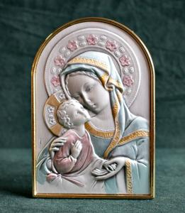 Icona Madonna con Bambino in Argento