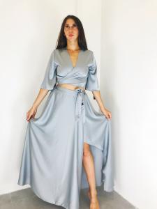 Completo donna jasmine  in raso gonna lunga e bolerino ad incrocio realizzato in Italia TG unica