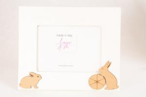 Portafoto Legno Bianco Conigli 13x18 cm