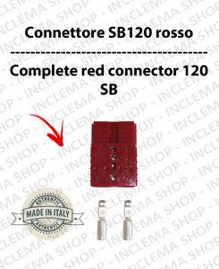 Connettore SB 120 Rouge completo di morsetti pour batterie e caricabatterie