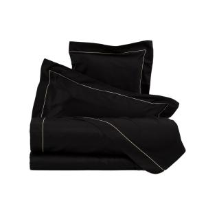 LA PERLA set lenzuola CLEOPATRA raso di puro cotone unito con cordonetto nero