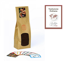 Blend of Tradizione Italiana coffee (70% Arabica 30% robusta) ground for moka and espresso packet of 250 grams