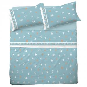 Set lenzuola matrimoniale 2 piazze in puro cotone GATTI azzurro