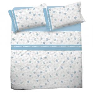 Set lenzuola matrimoniale 2 piazze in puro cotone INTRECCIO azzurro