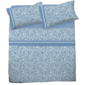 Set lenzuola matrimoniale 2 piazze in puro cotone MOSAICO azzurro