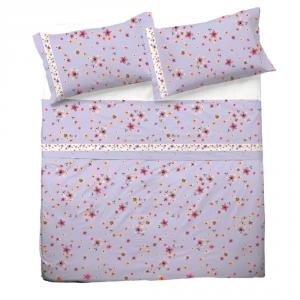 Set lenzuola matrimoniale 2 piazze in puro cotone CHARLOTTE lilla