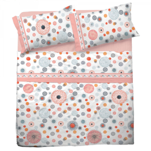 Set lenzuola matrimoniale 2 piazze in puro cotone GLORIA rosa