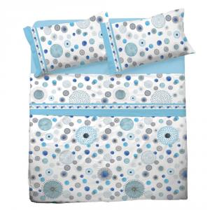 Set lenzuola matrimoniale 2 piazze in puro cotone GLORIA azzurro