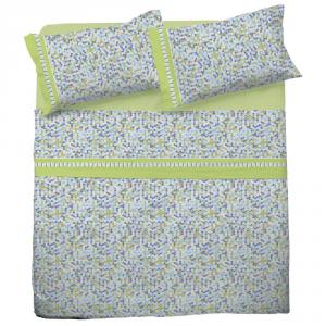 Set lenzuola matrimoniale 2 piazze in puro cotone MOSAICO verde