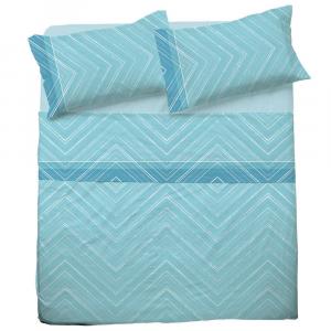 Set lenzuola matrimoniale 2 piazze in puro cotone MICHELLE azzurro