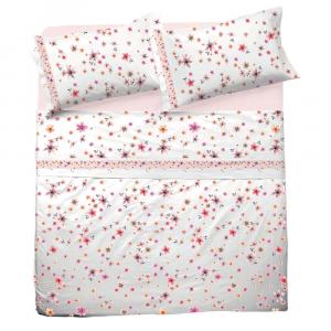 Set lenzuola matrimoniale 2 piazze in puro cotone CHARLOTTE rosa