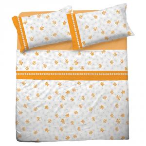 Set lenzuola matrimoniale 2 piazze in puro cotone INTRECCIO arancio