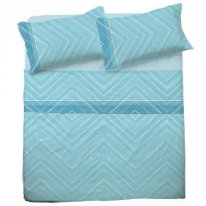 Set lenzuola una piazza e mezza in puro cotone MICHELLE  azzurro