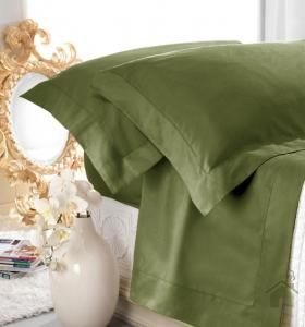 Set lenzuola matrimoniale AURORA in raso di puro cotone a giorno verde
