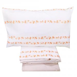 Set lenzuola matrimoniale 2 piazze in flanella HAPPIDEA floreale arancione