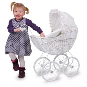 Carrozzina passeggino per bambole grande in vimini stile retro