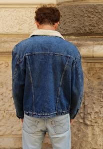 Bomber Vintage Jeans Carrera Uomo con inserto pelliccia interna 80-90s 8-71