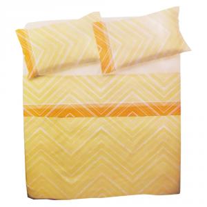 Set lenzuola per letto piazza e mezza FRANCESE  in puro cotone MICHELLE arancione