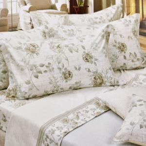 Set lenzuola invernali letto matrimoniale 2 piazze caldo cotone floreale avorio