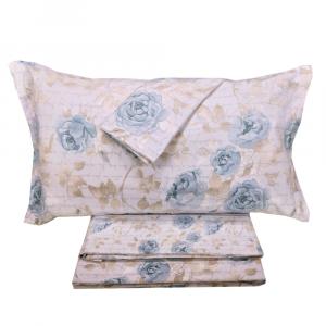 Set lenzuola invernali letto matrimoniale 2 piazze caldo cotone floreale blu