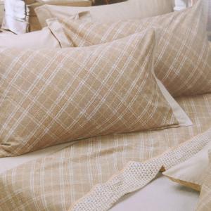 Set lenzuola invernali matrimoniale 2 piazze caldo cotone scozzese nocciola