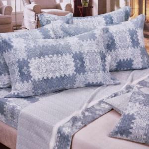 Set lenzuola invernali per letto francese caldo cotone Smoky Blue