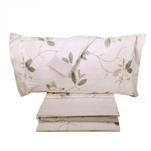 Set lenzuola invernali matrimoniale 2 piazze caldo cotone Chamonix floreale verde