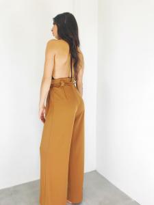 Pantalone donna a palazzo vita alta con cintura a nastro realizzato in Italia TG S/M/L
