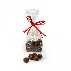 Confezione di Dragèes da 100 grammi, ciliegia ricoperta di cioccolato fondente
