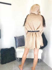 Maxi maglione in misto lana con cappuccio TG s/m m/l