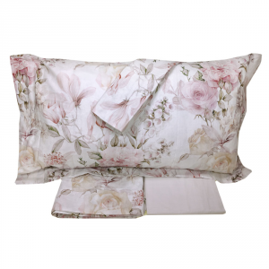 Set lenzuola matrimoniale 2 piazze RANDI percalle ROSA REGINA rosa e grigio
