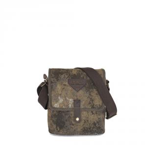 Avirex - Desert - Borsa a tracolla unisex in canvas con patta marrone effetto sabbia cod. A11
